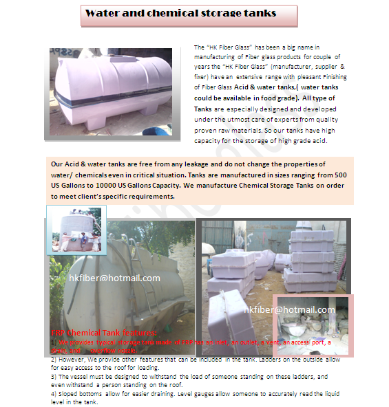 Buy Fiber Glass water and acid Tanks for sale