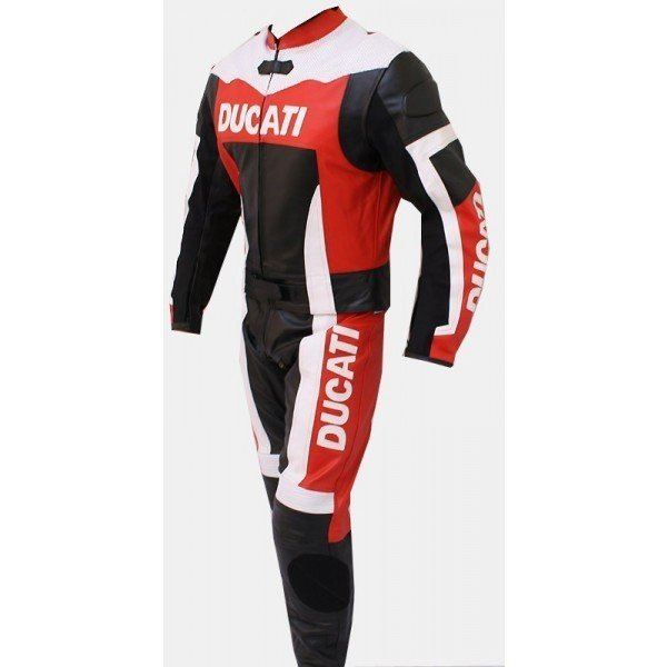Buy Motorcycle leather suit for Professional Biker Ducati Red White Black Branded