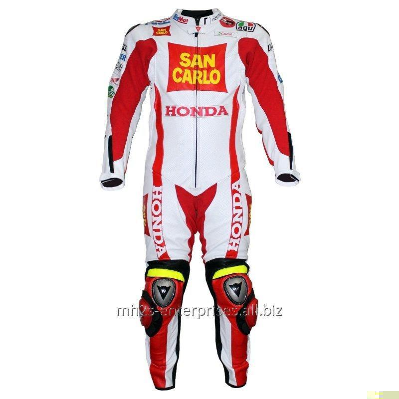 Buy Honda Bike Racing leather suit with protections