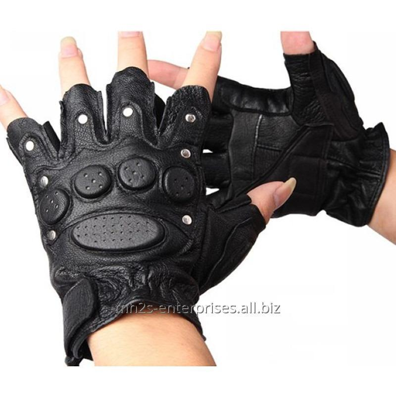 Buy Custom leather weight lifting gloves gym fitness glove with wristwrap