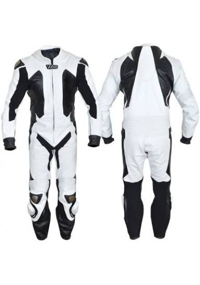 Buy Motorbike Leather Racing Suit For Rider Color Whit
