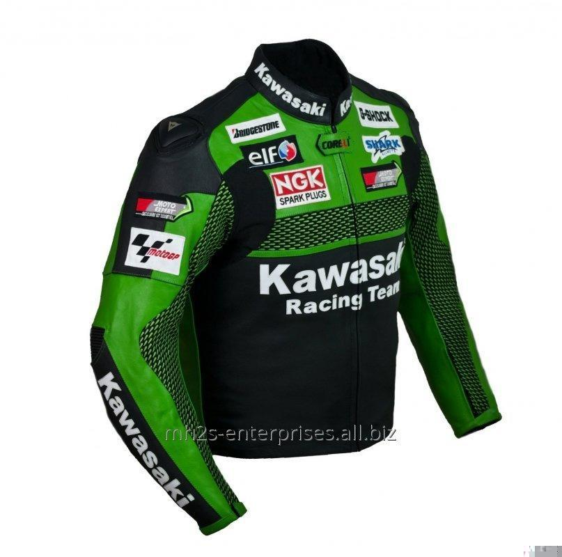 Buy Racing Kawasaki Leather Motorcycle Jacket