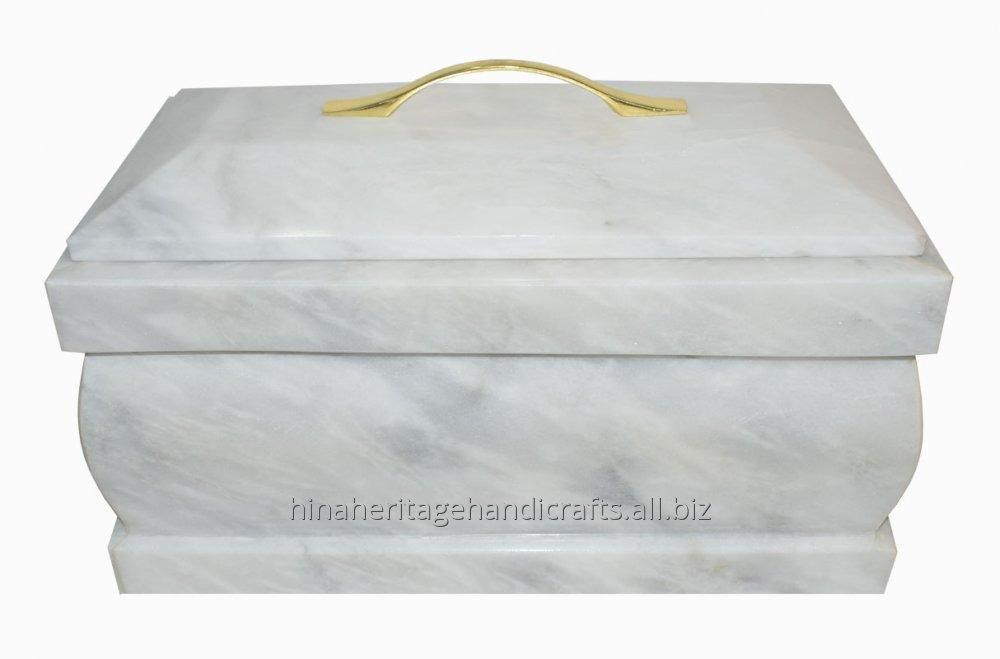 Buy Coffin Cremation Urn in Pure White Marble (CU-0005)