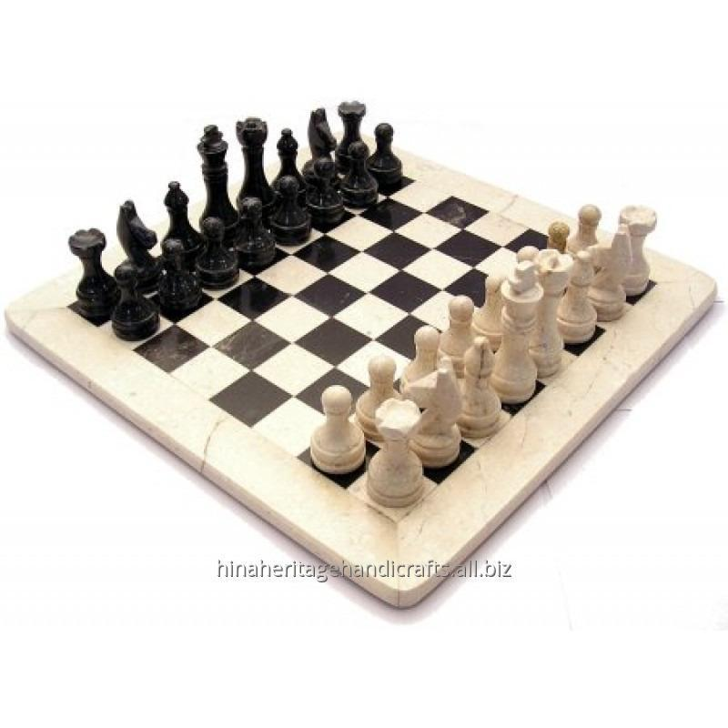 Botticino & Black Marble Chess Set