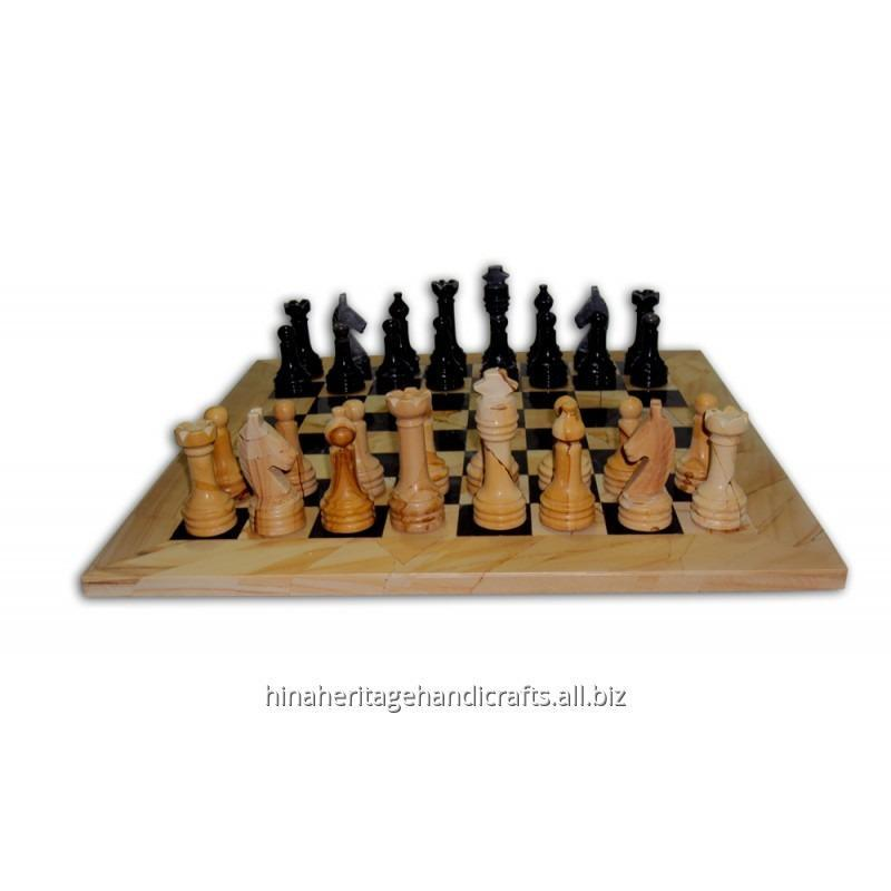 Buy Burma Teak & Black Marble Chess Set