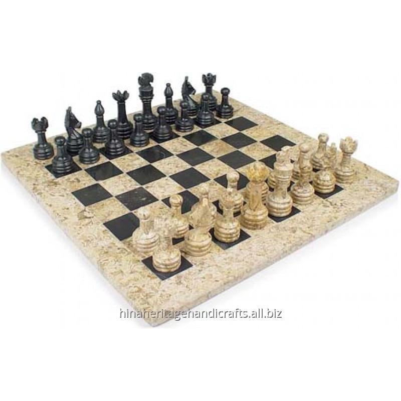 Buy Coral & Black Marble Chess Set