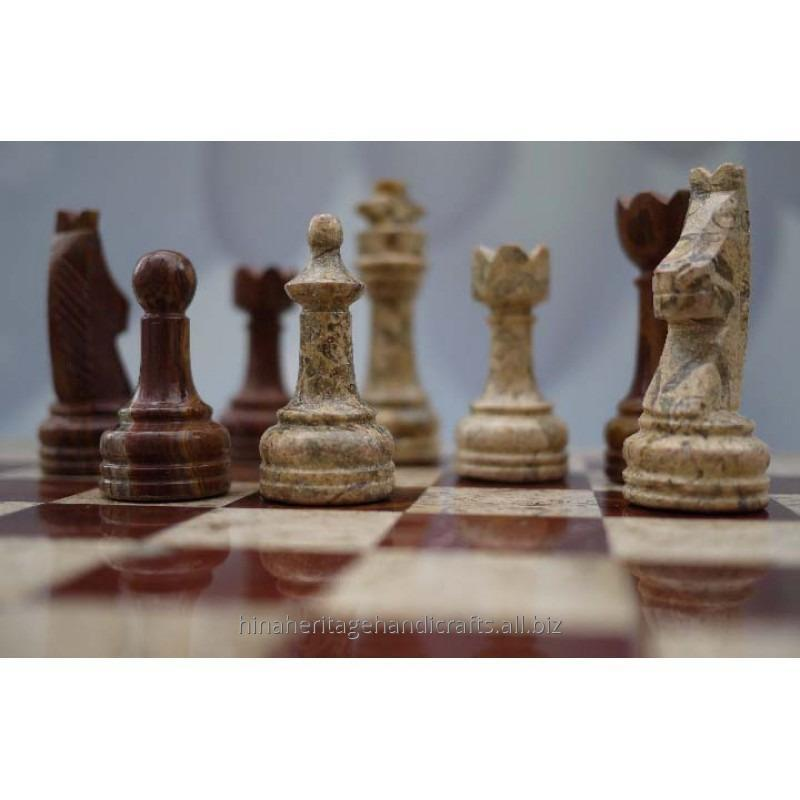 Buy Coral & Red Onyx Stone Chess Set