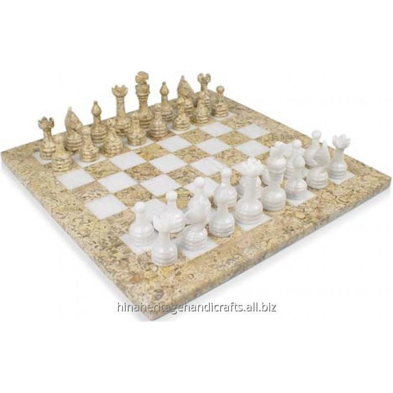 Buy Coral & White Marble Chess Set
