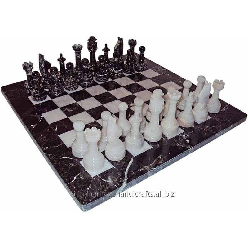 Buy Black Zebra & White Marble Chess Set