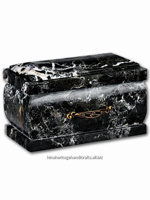 Buy Coffin Cremation Urn Black Zebra Marble