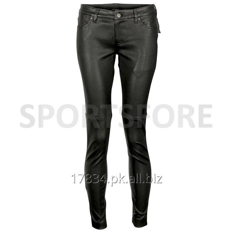 Buy Women Black Genuine Leather Slim Fitting Tight Skinny Pants/Trousers