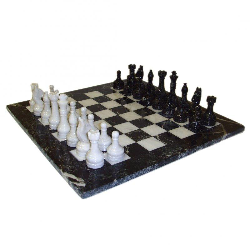 Buy Black Zebra & White Marble Chess Set