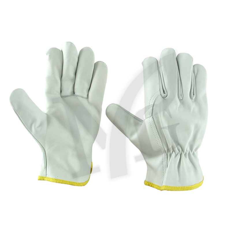 Buy Drivers Glove, palm & top made of cow grain leather, wing Thumb, return on index finger, elastic on wrist, yellow cotton binding.