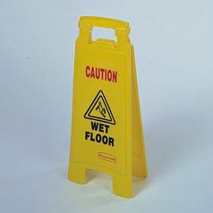 """Caution wet floor"" floor sign"