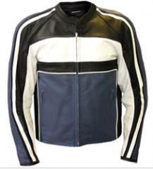 Men Motorbike Jacket black white