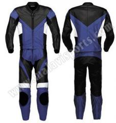 Black blue motorbike suit