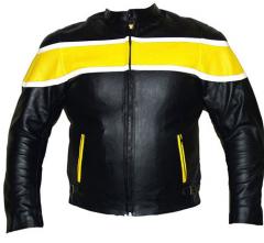 Motorbike Leather Yellow Jacket
