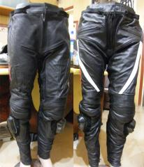 Mens Motorbike Leather & Kevlar Trouser