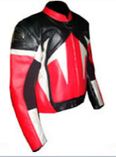 Leather black red jacket