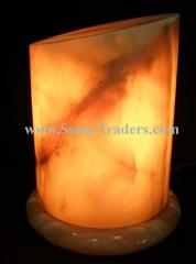 Marble Onyx Cut Cylinder Shape Lamp