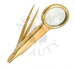 Magnifying Gold Plated Tweezers-Aerona Beauty.