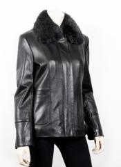 Women Black Fur Leather Jacket