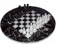 "Black Zebra Round Chess Set 15"""