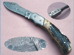 Handmade Damascus Folding Knife