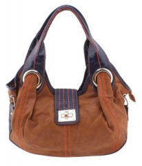 Light Brown-Black Handbag with Broad Strap with Buckle (Size One Size)