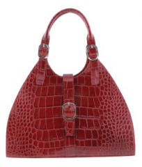 Red Casual Crocodile Pattern Handbag (Size One Size)