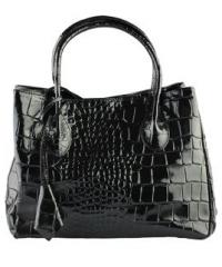 Eleanor Collection - Genuine Leather Black Crocodile Print Shoulder Bag (Size M)