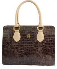 Dark Brown-Off White Crocodile Leather Short Double Strap Handbag (Size One size)