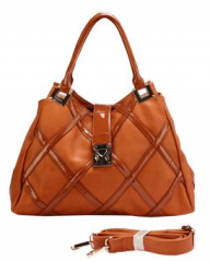 Camel Color Hand Bag with Criss Cross Design (Size One Size)