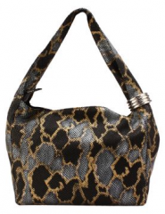Eleanor Collection Charcoal Grey Snake Printed Shoulder Bag (Size One Size)