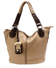 Beige Leather Hand Bag with Embroidery on Front (Size One Size)