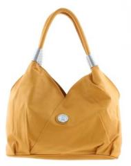 Mustard Shoulder Bag with Silver Emblem (Size One Size)