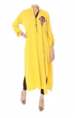 Hot Selling 3/4Th Sleeve Embroidered Yellow Kurti 2013