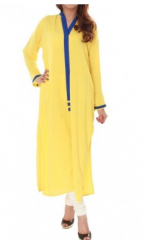 Yellow Highlighter Chiffon Blouse Embroidary Moroccan Tunic Style 2013