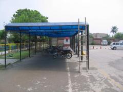 Fiberglass car-parking shed