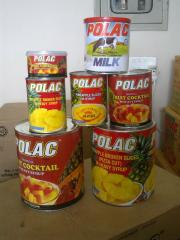 Polac pineapple, non fat dairy milk, vegetable milk powder 26-28%, malapine pineapple, fruit cocktale, Polac juice