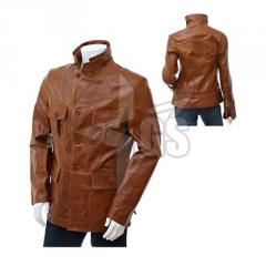 High Quality Brown Leather fashion jacket For Men