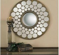 Brown Circular painted Miror