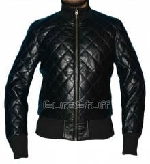 Exclusive Luxurious Diamond Quilted Lambskin Leather Jacket