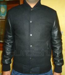 Sheepskin Leather Sleeves Varsity Jacket-Black/Black
