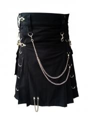 Men Black Fashion Modern Utility Kilt with D-Rings and Chains