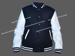 Black Wool Body White Leather Sleeves Varsity Jacket