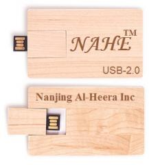 2gb Wooden Business Card Shape USB Flash Drive