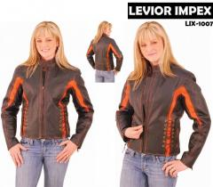 Orange Trim Black Lace Up Motorcycle Jacket for Women