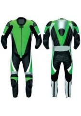 Motorbike Leather Racing Suit For Rider Green