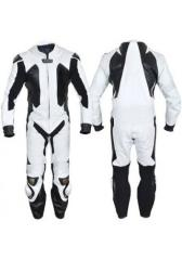 Motorbike Leather Racing Suit For Rider Color Whit